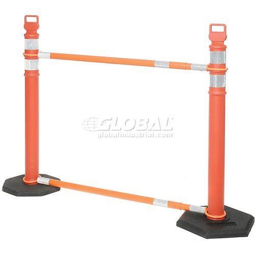 Retractable Cone Bar Barricade System 2 Delineators 2 Cone Bars 2