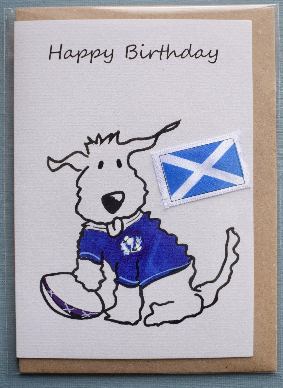 Birthday Card Scotland Rugby Dog Greetings Card Animal Card Funny Rugby Scottish Funny Birthday Cards Birthday Cards Dog Greeting Cards