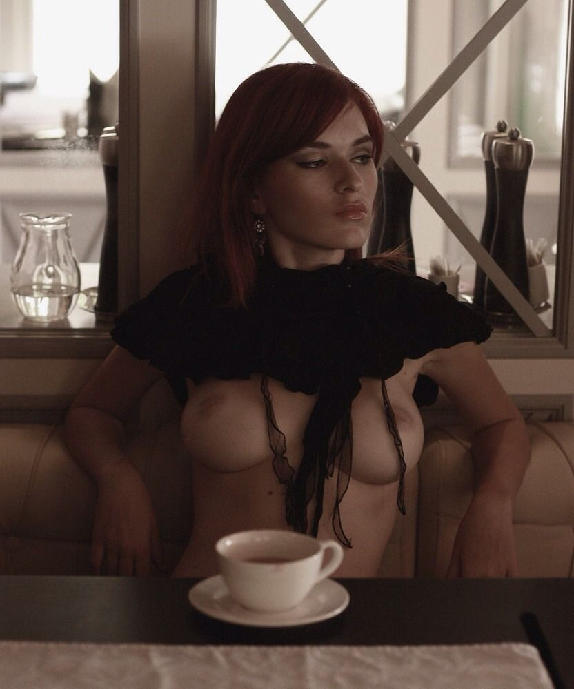 Women drinking coffee nude