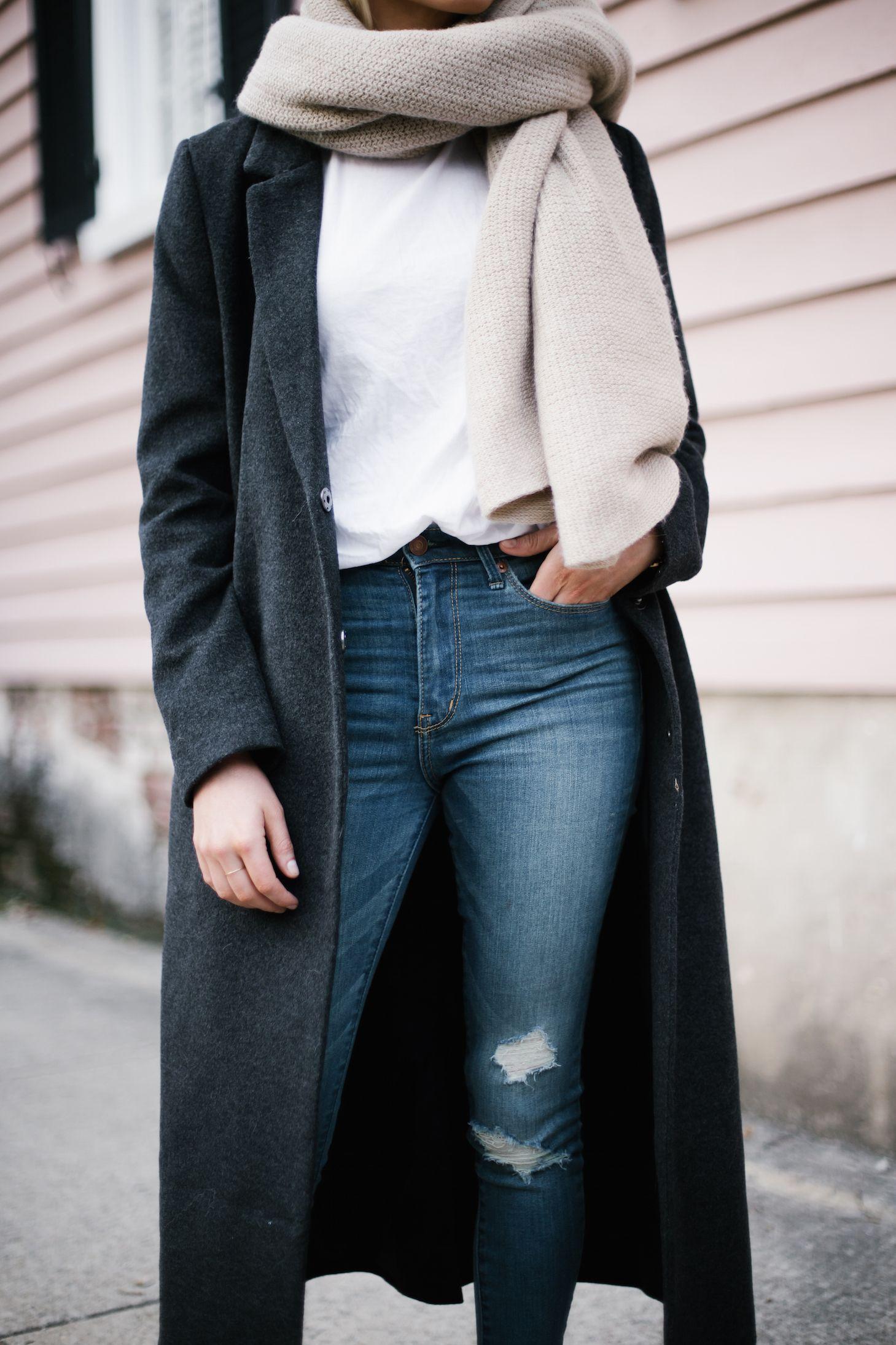 7a799a4bfdc Bundled Up charcoal long wool coat dark grey white crew neck tee shirt  skinny denim jeans