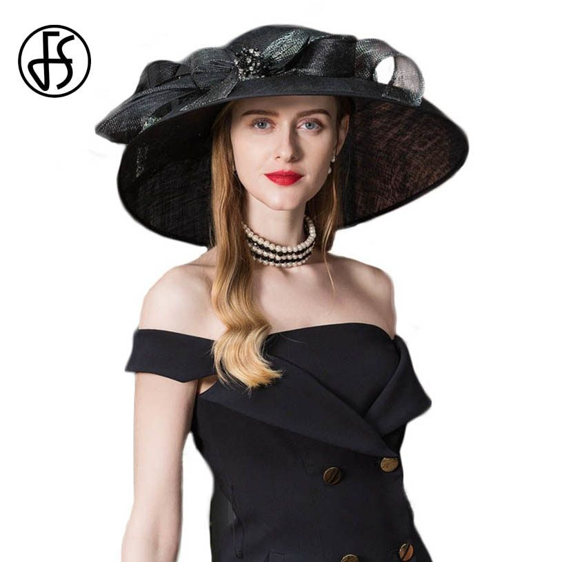 03a31632 FS Vintage Black Fascinator Sinamay Church Hats Women Elegant Lady ...