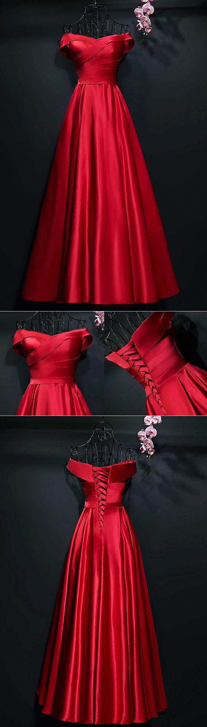 Simple A Line Satin Pleated Off Shoulder Formal Party Dress -  118   MYX18257 - SheProm.com  1f1da5724