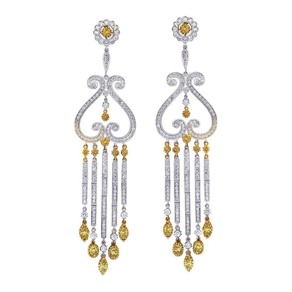 Vintage yellow diamond chandelier earrings diamond chandelier vintage yellow diamond chandelier earrings arubaitofo Choice Image