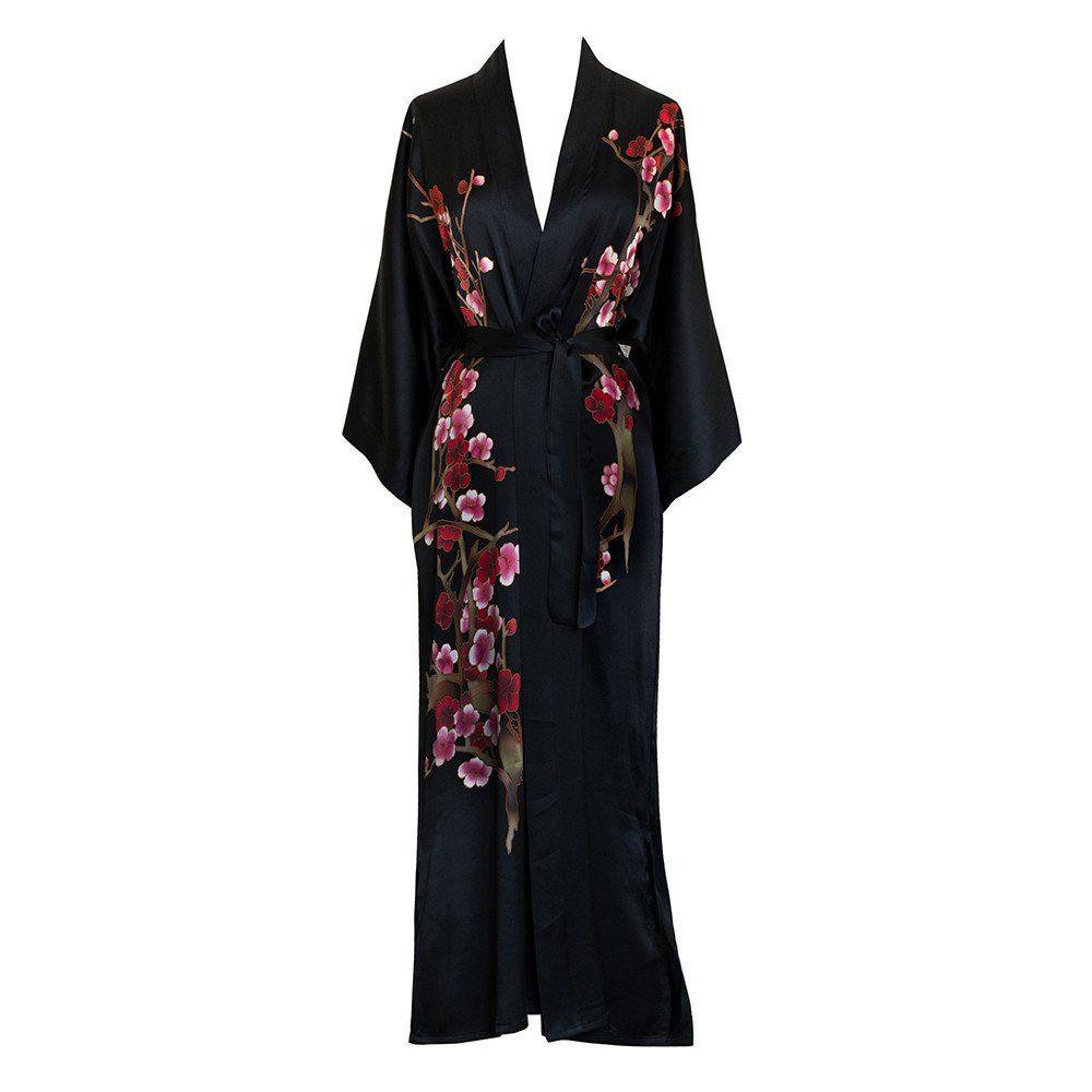 6322e0603f04 Cherry Blossom Silk Handpainted Kimono Robe – Old Shanghai Online