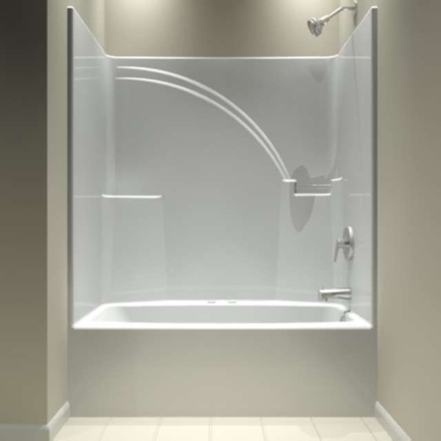 Aquarius tub and shower units one piece shower units and for Decorating ideas tub surround