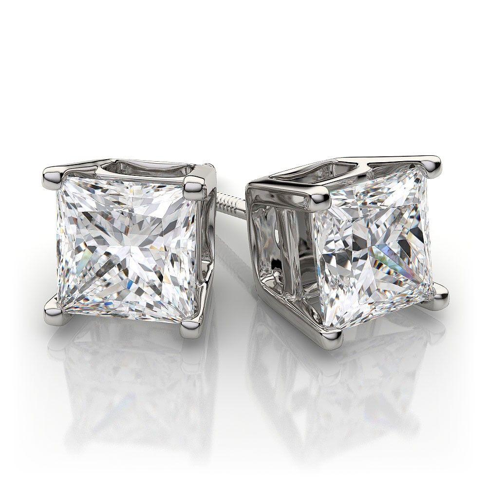 Princess Cut Diamond Stud Earrings 16