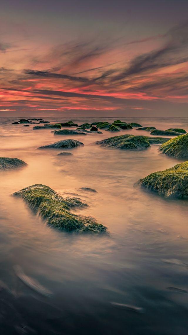 640x1136 Камни, море, мох обои iPhone 5S, 5C, 5   Nature ...