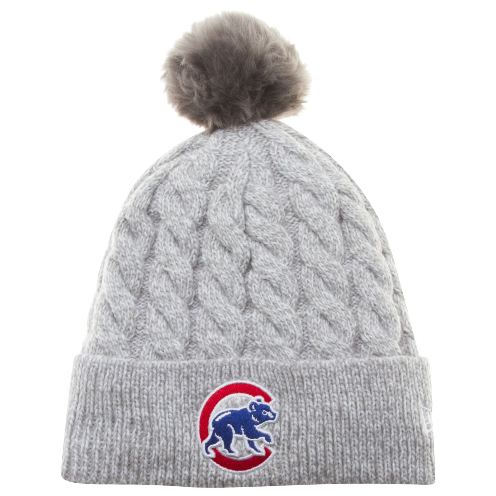 Chicago Cubs Women s Grey Thick Knit Crawl Bear Logo Toasty Pom by New Era   Chicago  Cubs  ChicagoCubs 91b6edcb209