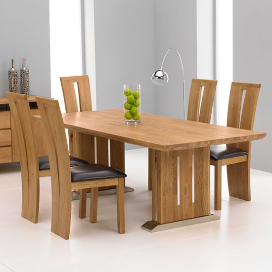 Cagliari Oak Dining Table And 6 Arizona Dining Chairs Wooden