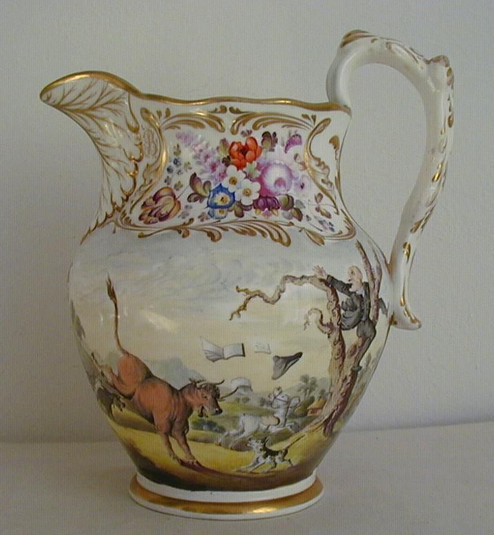 Antique English Porcelain Dr Syntax Monogrammed Jug C1830 - BEAUTIFUL - Found on Ruby Lane