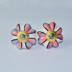 $3.96 Floral Printed Ceramic Knobs, Set of 2