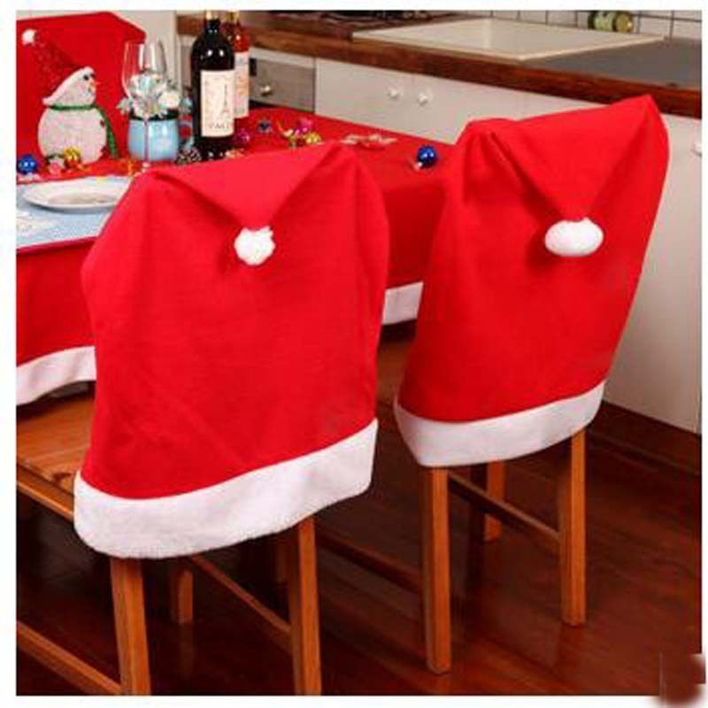 Christmas Chair Covers Ebay White Spandex Amazon 3 35 2 4 6 8 Pcs Santa Clause Red Hat Back Cover Dinner Table Party Home Garden
