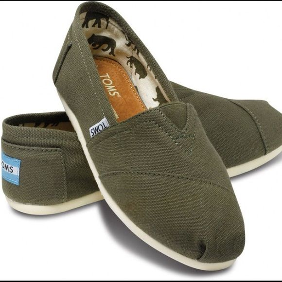 TOMS Army Green Slip Ons   Toms shoes