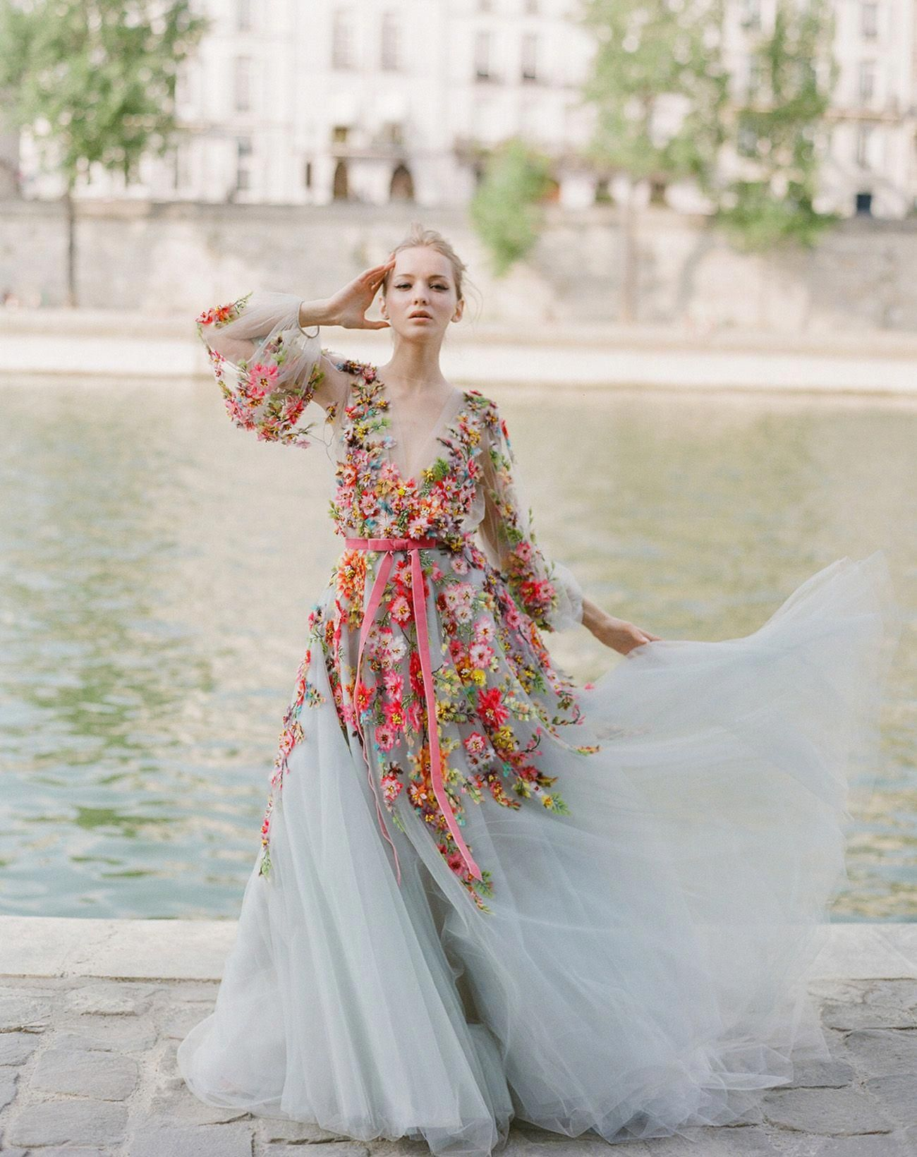 Our Favorite Wedding Dresses With A Pop Of Color Colored