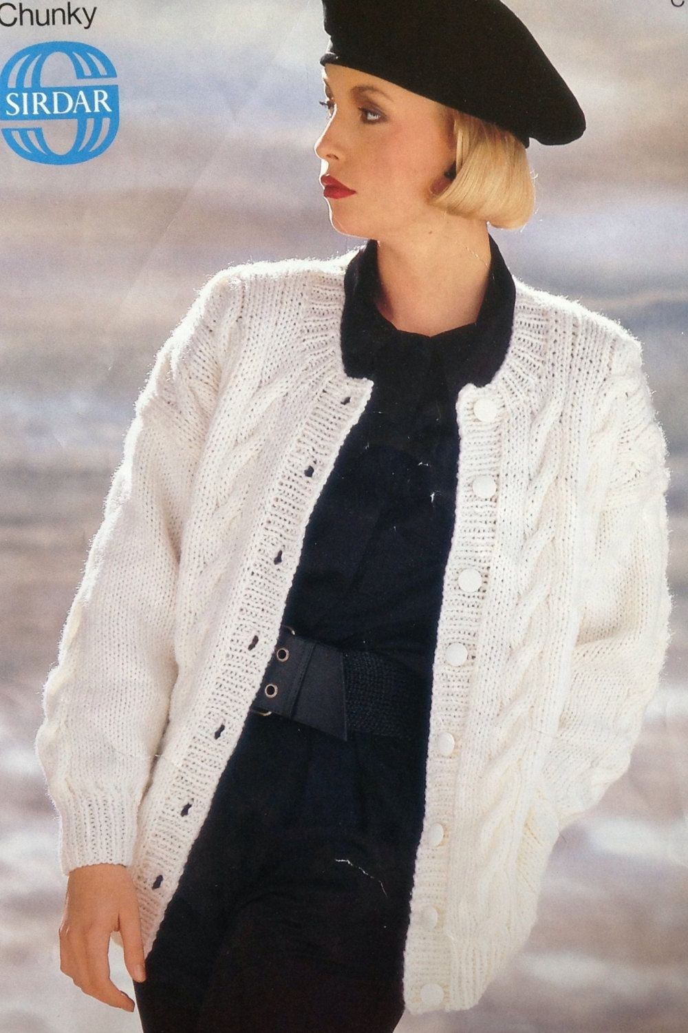 dd125f9cf54678 Ladies  Girls Chunky Cable Knit Cardigan  Jacket Knitting Pattern size  30-40in 46-102cm by makenshare on Etsy