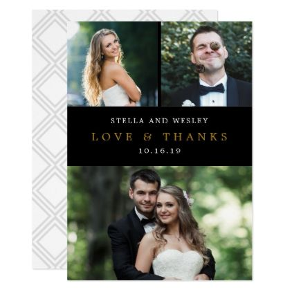 clean collage editable color photo thank you card wedding