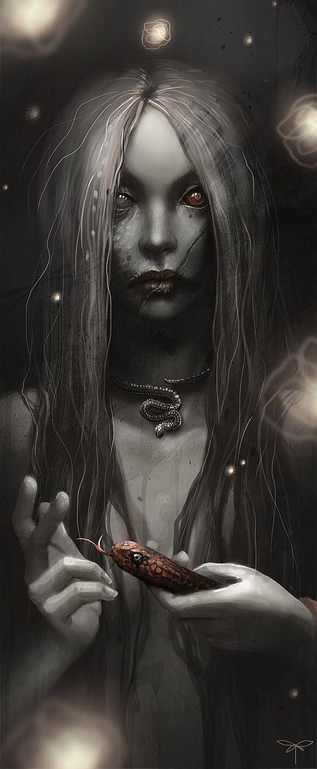 Stunning Fantasy Illustrations by Sandra Duchiewicz  Very Ereshkigal to me!! V)O(M