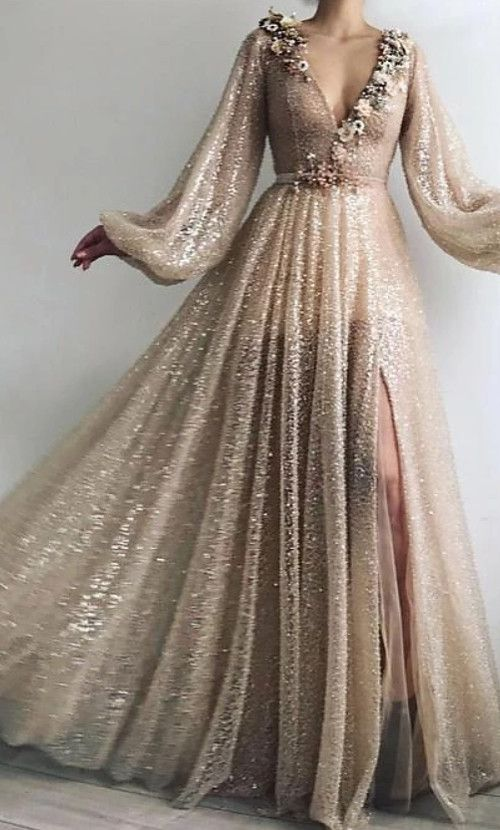 Photo of A-Line Sparkle Prom Formal Evening Dress V Neck Long Sleeve Floor Length Sequined with Sequin Appliques Split Front 2021 2021 – US $189.99