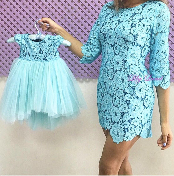 f0ce020c5928 Mother and daughter matching dress Lace turquoise Mother daughter matching  tutu lace dress matching
