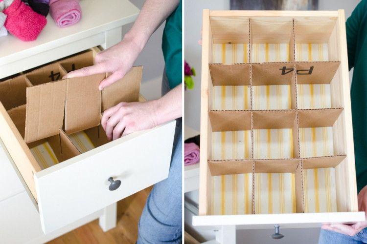 11 Awesome Ways To Repurpose An Empty Cardboard Box Diy Drawer