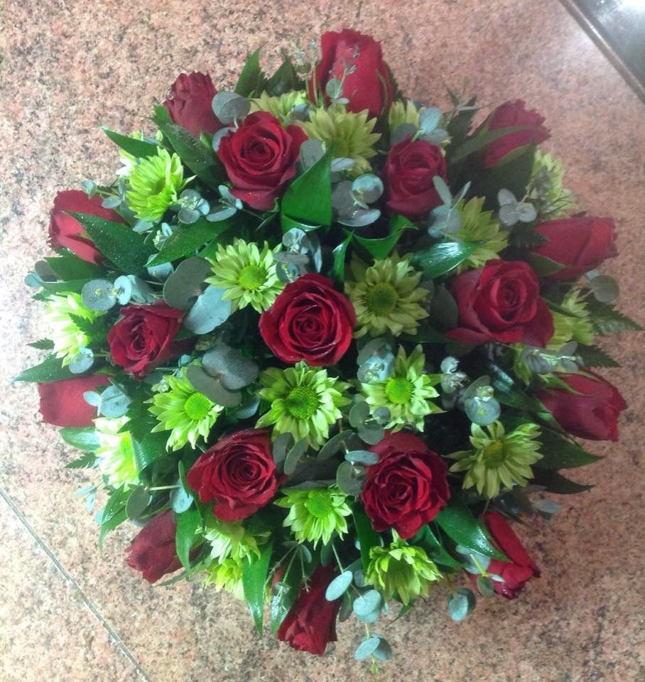 Red And Green Funeral Posy Pad Floral Sympathy Flowers