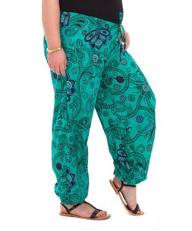 610cc923477eb Look what I found on  zulily! Green   Black Palazzo Pants - Plus Too ...