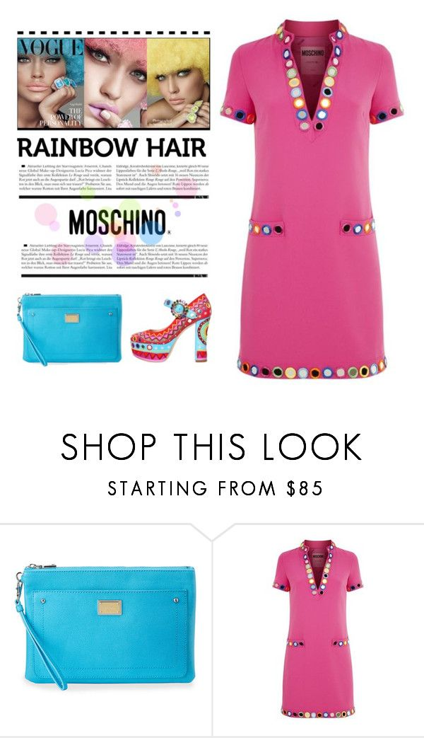 """Rainbow Hair Trend"" by conch-lady ❤ liked on Polyvore featuring beauty, Love Moschino and Moschino"