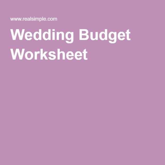 Wedding Budget Worksheet  Wedding Weddingplanning