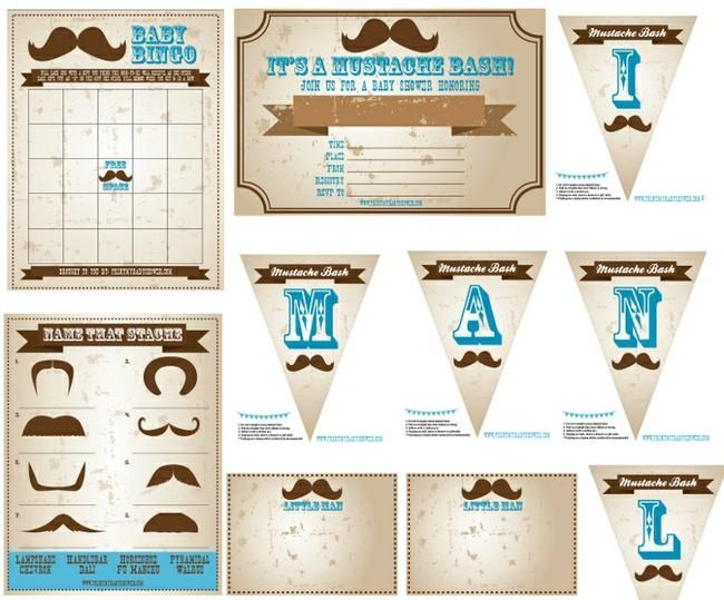 Mustache Baby Shower Theme   Enjoy This Free Printable Little Man Mustache Baby  Shower Theme. Comes With Printable Baby Shower Banner, Invitation, ...