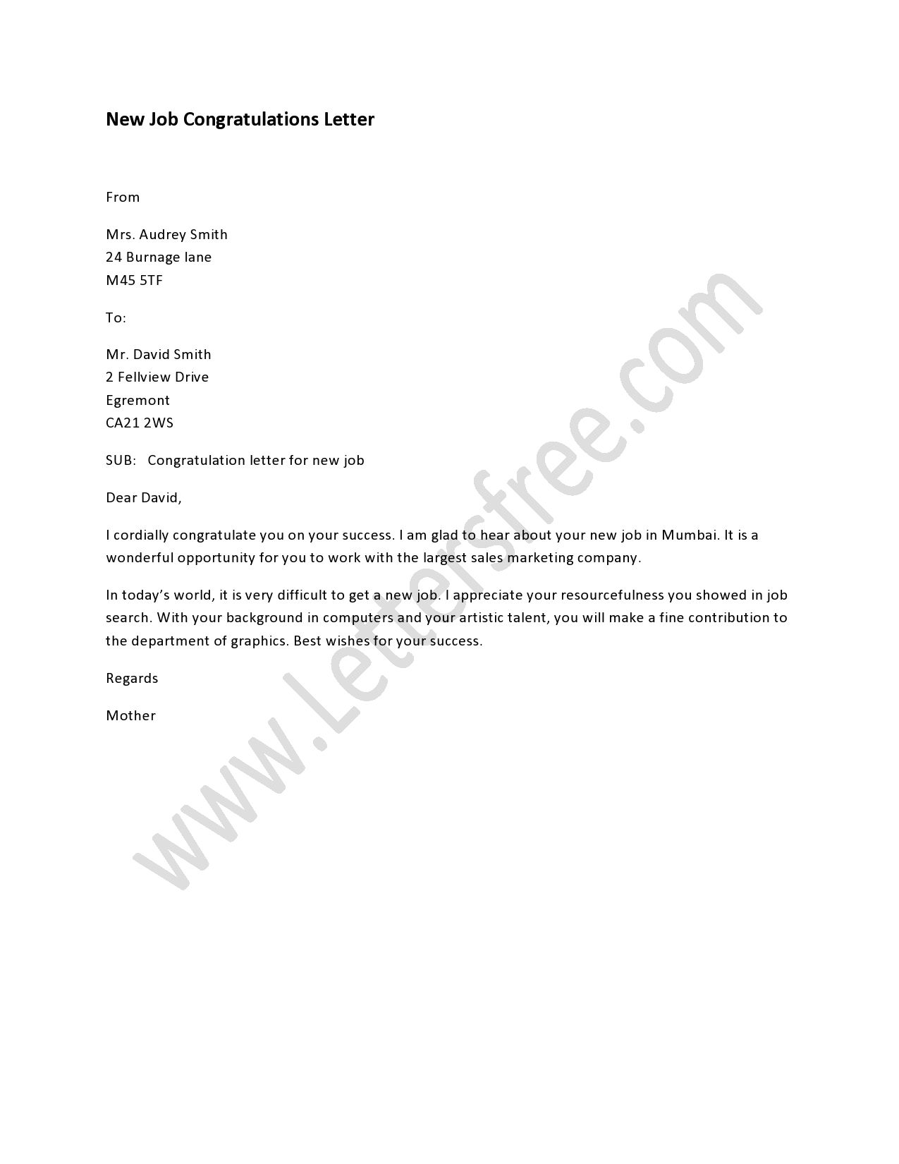 New Job Congratulations Letter | Sample Congratulations Letters