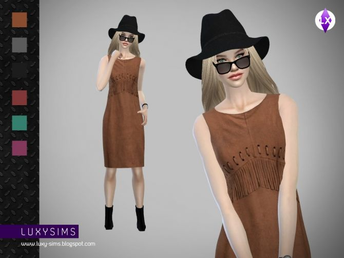 Fringed Dress at Luxy Sims via Sims 4 Updates