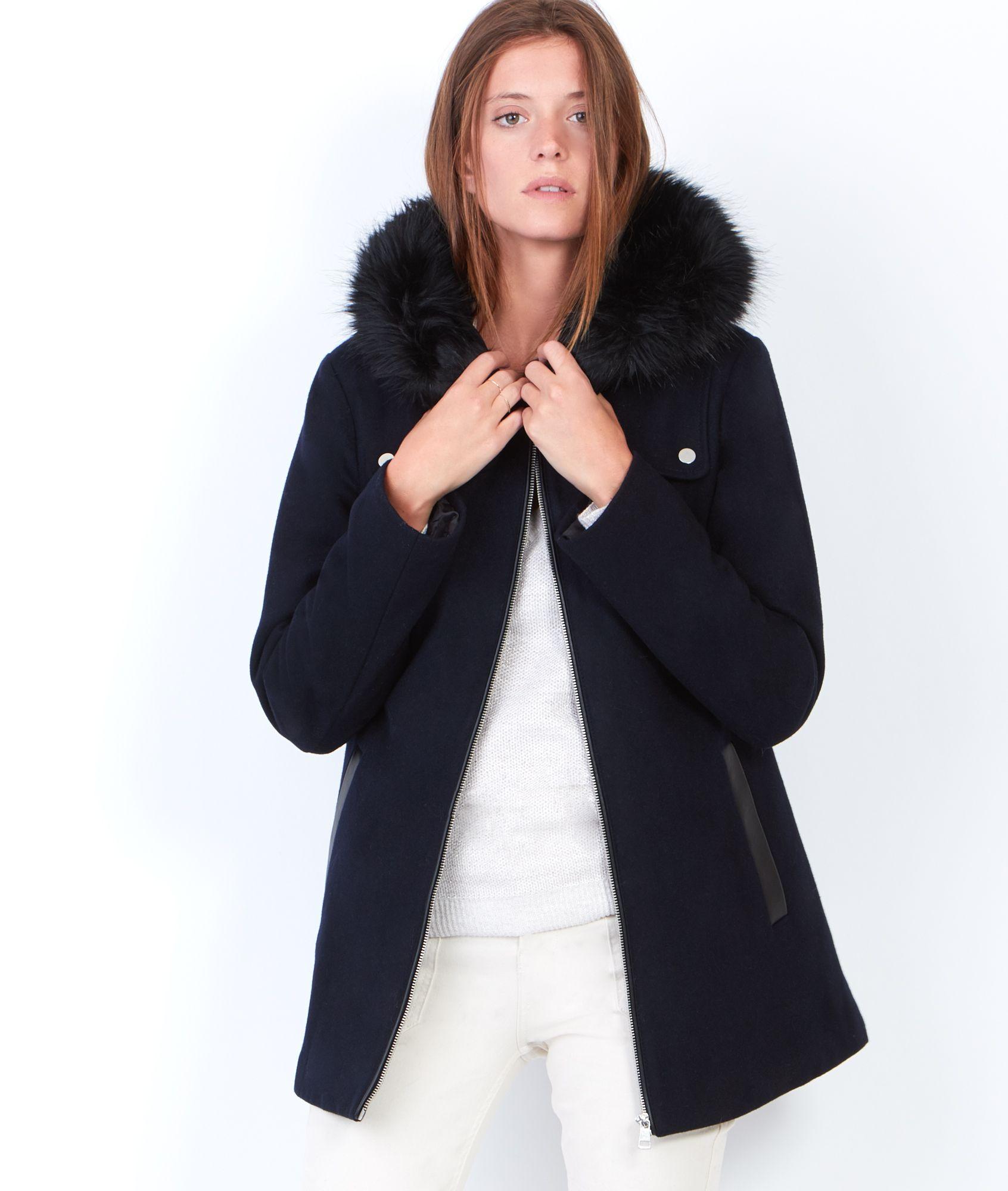 Manteau à capuche avec bordure en fausse fourrure - Manteaux - Manteaux -  Vêtements - Prêt-à-porter 05cf57f7662