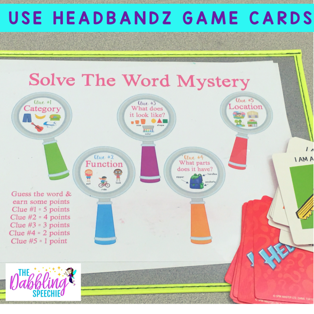 Mystery Word Game Using Hedbanz Cards Word Games For Kids Mystery Word Word Games