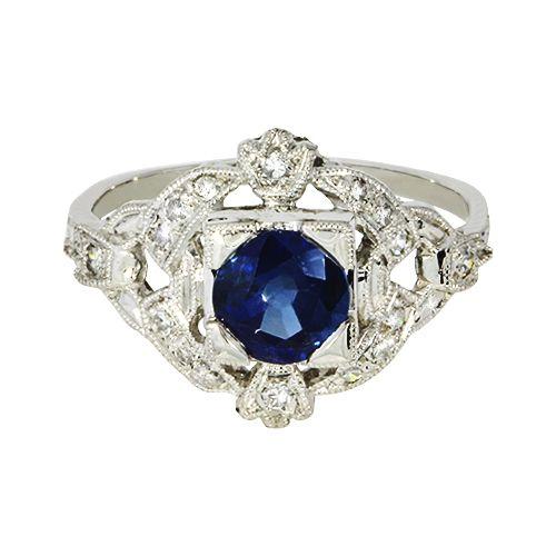 Gorgeous Vintage Platinum And Sapphire Diamond Ring Vintage