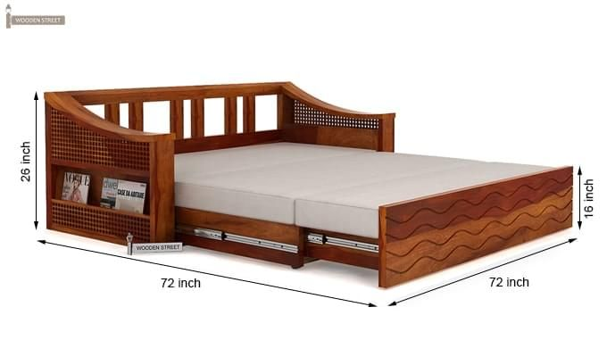 Thar Sofa Cum Bed Honey Finish 12 Sofacumbed