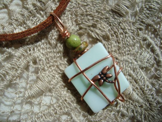 wire wrapped recycled glass pendant. Beads · Wire Wrapped Recycled Glass Necklace Pendant