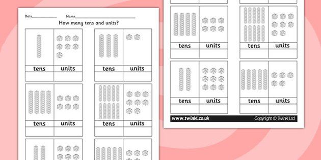 Tens and Units Worksheet - count, counting aid, numeracy, maths ...