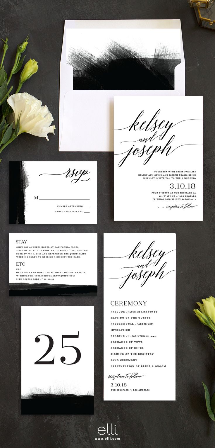 Simple And Modern Wedding Invitation Suite