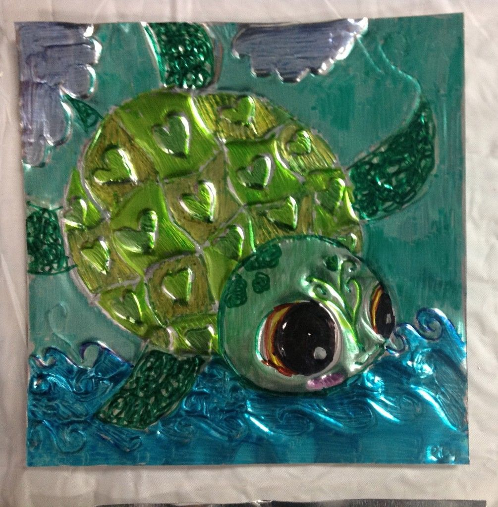 a whole canvas of tiny tinplates with sharpie, foil and yarn backing for texture- each child does an animal of their choice