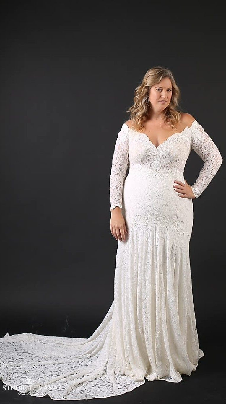 Plus size mermaid lace wedding gown with long off shoulder sleeves