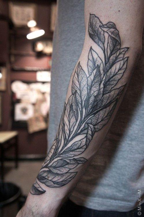Tattoo: bay leaf branch.