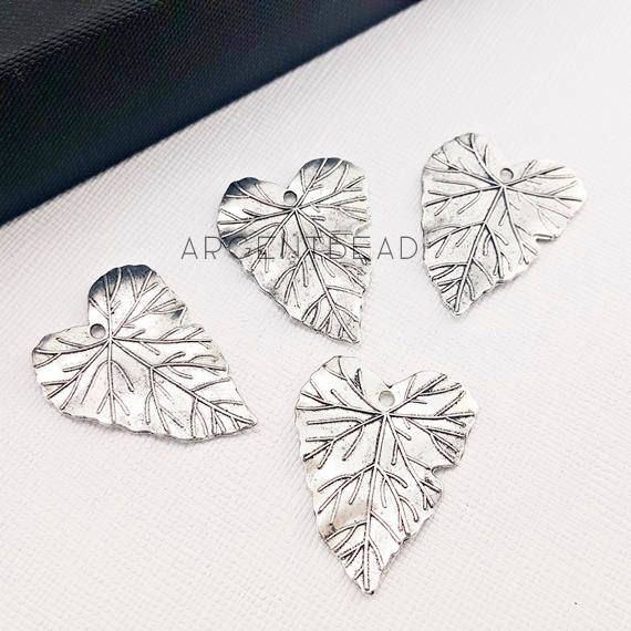 10 pcs Silver Tone Leaf Charms Large Skeleton Leaves Medium Brass Leaf Charms Wavy Hand Antiqued Brass Leaves by Argentbead on Etsy