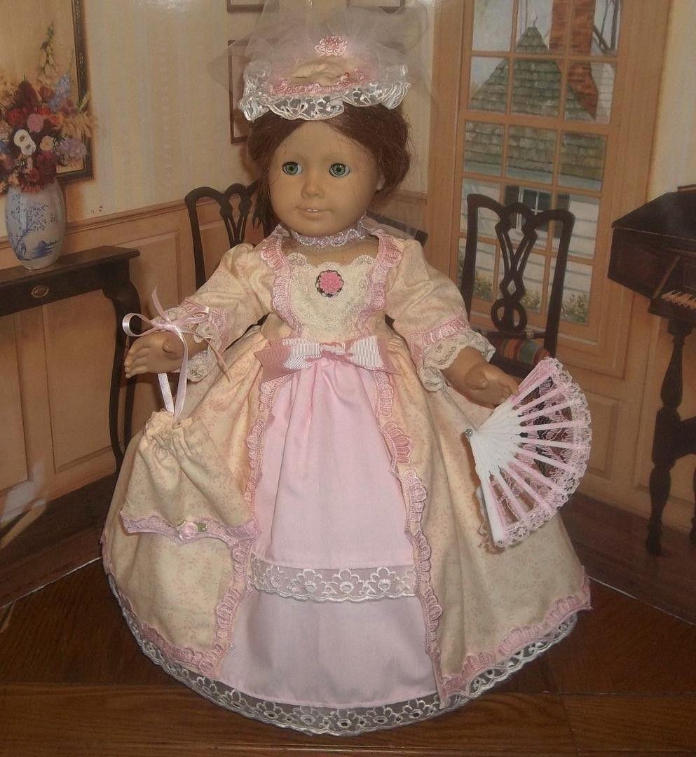 fits American Girls such as Elizabeth 4 Piece Peach Taffeta Colonial Gown Set