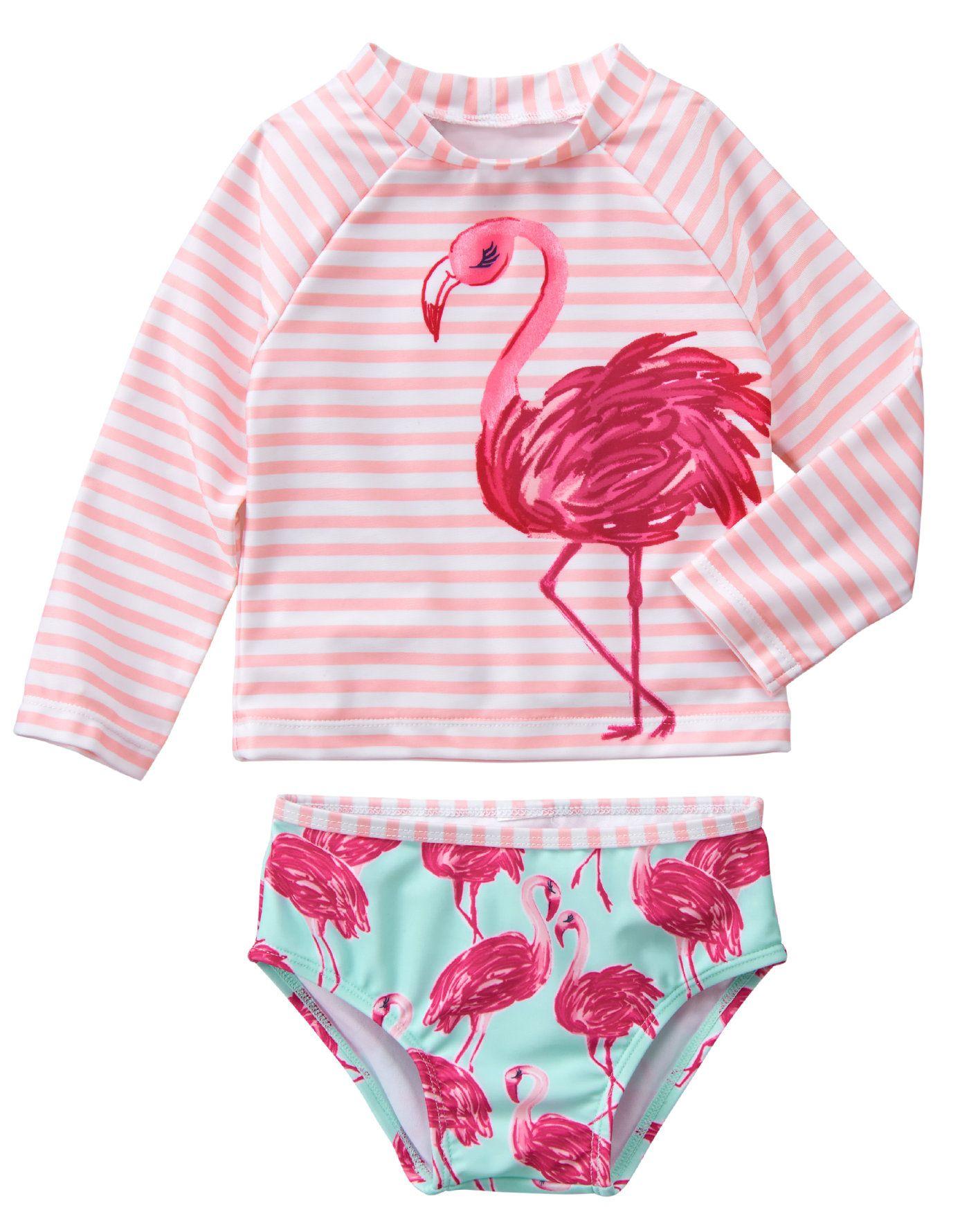 14c972615433 Flamingo Rash Guard Set Vestidos De Baño Niñas