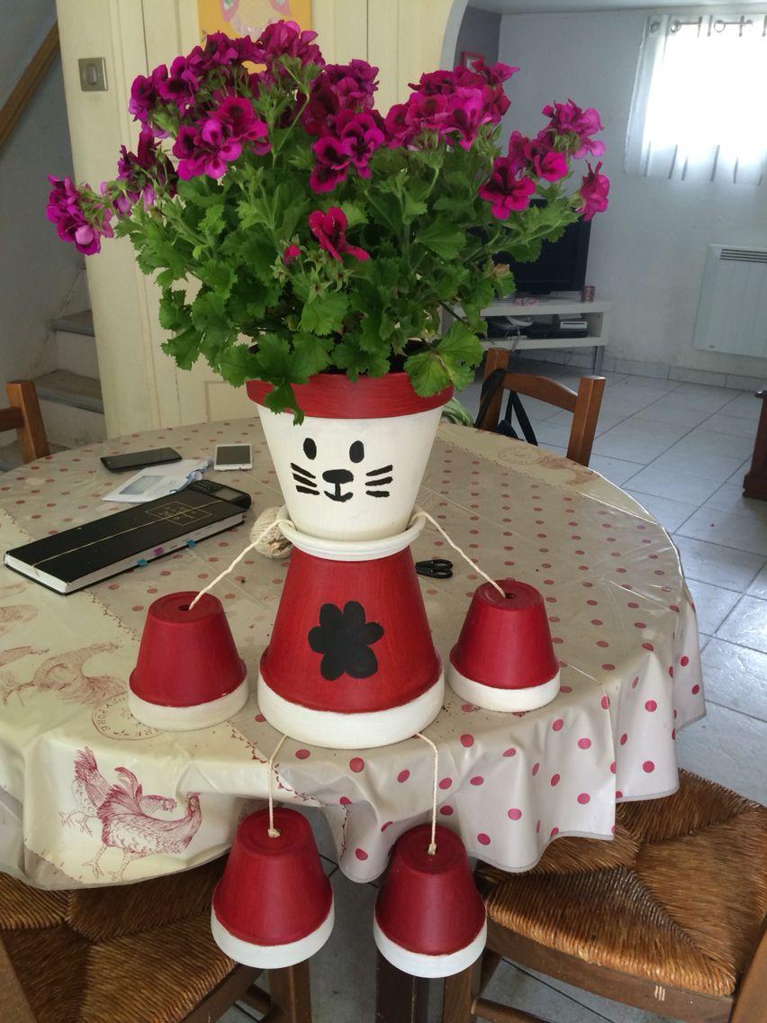 Chat en pot de fleur Bonhomme en pot Décoration Jardin Fête des ...