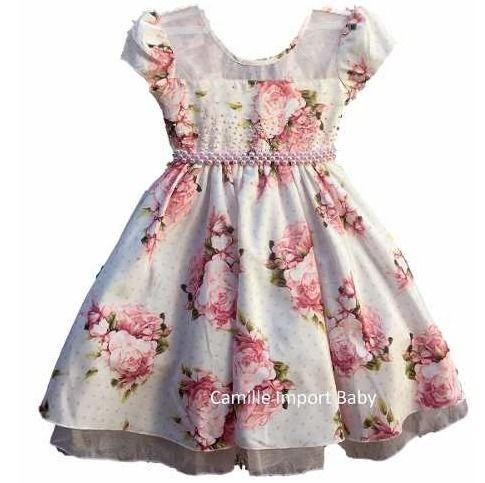 ecc119e85fa vestido festa infantil floral luxo 1 a 16 anos com tiara ...