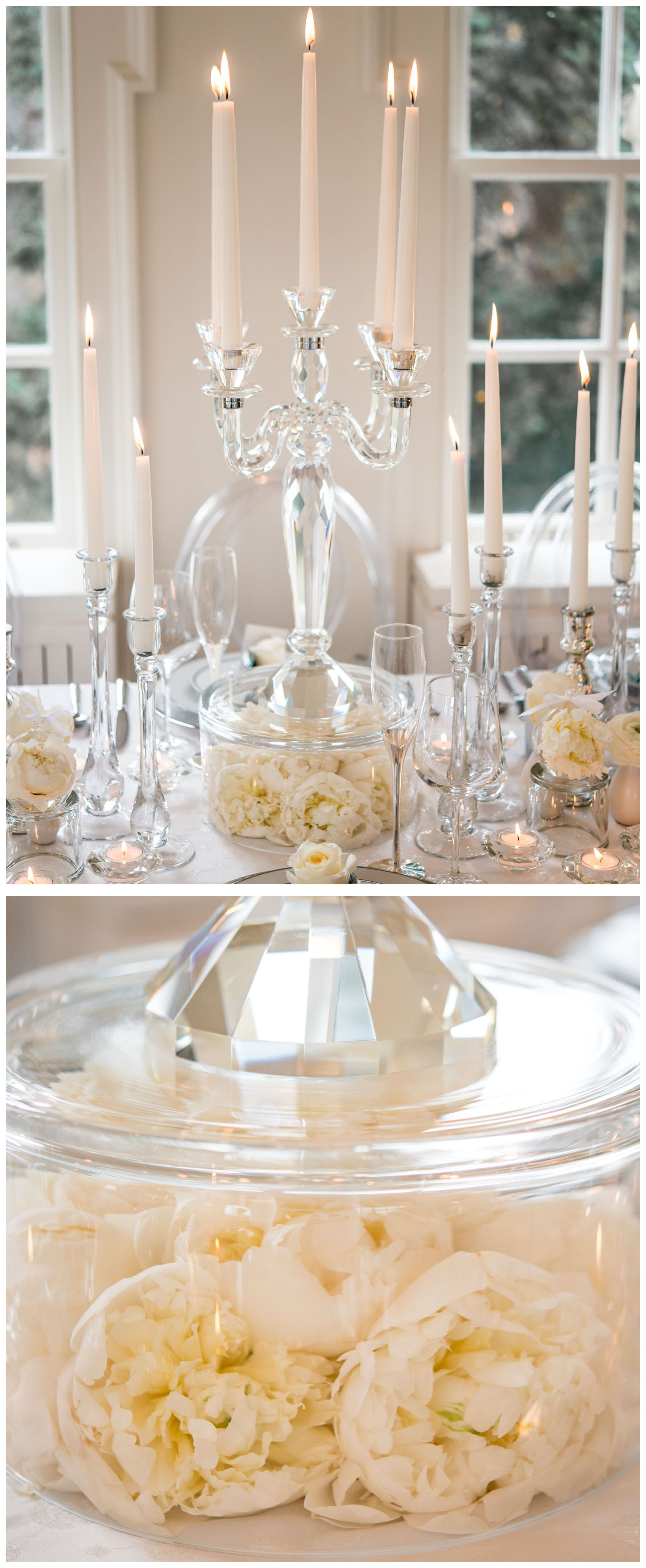 on a bed of peonies. white centerpieces. unique centerpieces ...