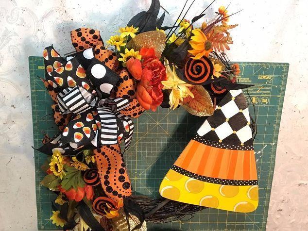 halloween candy corn wreath Ready for Halloween!!!! Pinterest - hobby lobby halloween decor