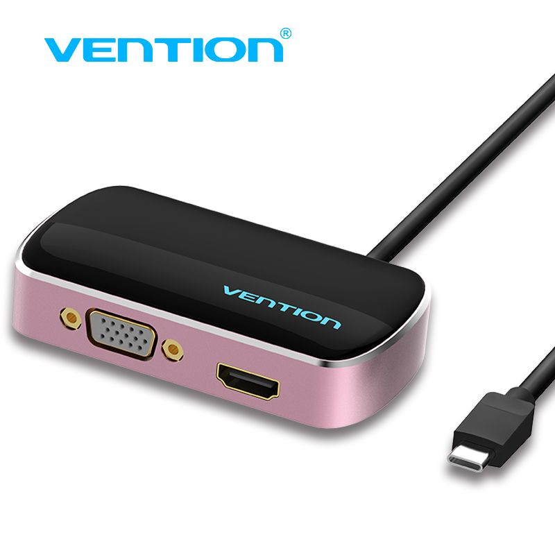 Vention Type C Input Vga Hdmi Usb 3 0 Output Splitter 1 To 3 Type C To 3 Out 4k For Macbook Pro Notebook Screen Display Hub Chromebook Pixel Usb Usb Hub