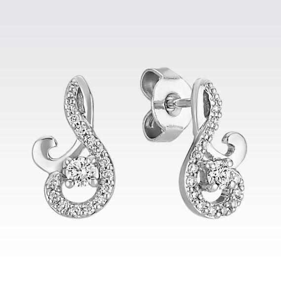 Round Diamond Swirl Earrings In Sterling Silver
